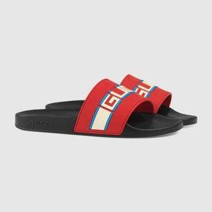 Gucci Men's Stripe Red Rubber Slide Sandals